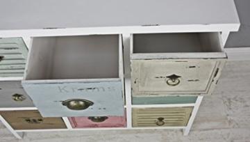 elbmöbel Kommode Vintage aus Holz mit bunten Schubladen im Shabby-Chic Look - 5