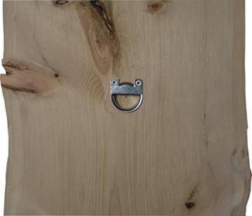 Flur-Garderobe Echtholz Zirbe: moderner Garderobenständer mit 2 Edelstahl Kleiderhacken | Jackenständer und Jackenhalter schlicht & modern in Massiv-Holz Zirbe - 6