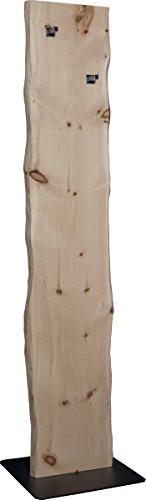 Flur-Garderobe Echtholz Zirbe: moderner Garderobenständer mit 2 Edelstahl Kleiderhacken | Jackenständer und Jackenhalter schlicht & modern in Massiv-Holz Zirbe - 1