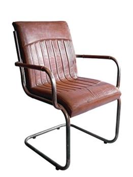 """Freischwinger-Sessel """"Draper"""" Vintage-Leder Stahlrohr Echtleder - 1"""