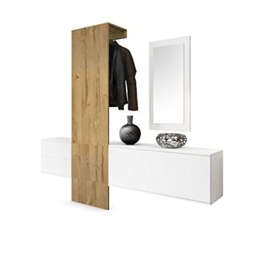 Garderobe Wandgarderobe Carlton Set 1, Korpus in Weiß matt / Paneel in Eiche Nature - 1
