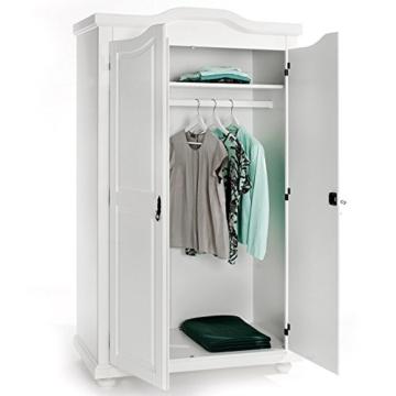 Garderobenschrank Dielenschrank Kleiderschrank MÜNCHEN, Kiefer, 2-türig 2 Türen, weiß - 2