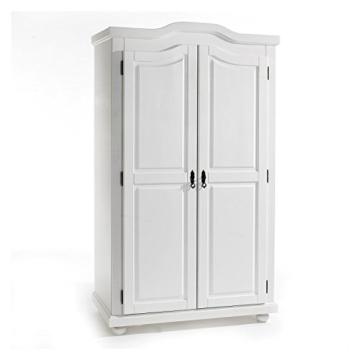 Garderobenschrank Dielenschrank Kleiderschrank MÜNCHEN, Kiefer, 2-türig 2 Türen, weiß - 1