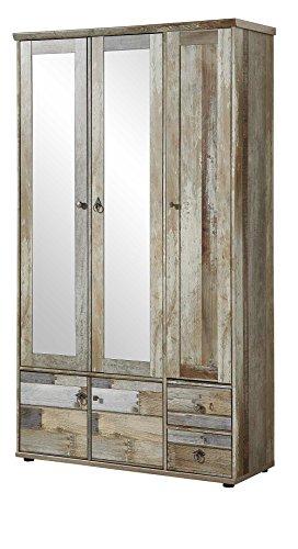 Garderobenschrank, Flurgarderobe, Flurschrank, Dielenschrank, Dielenmöbel, Driftwood, Treibholz, Vintage, Spiegel - 2