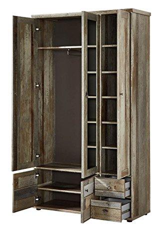 Garderobenschrank, Flurgarderobe, Flurschrank, Dielenschrank, Dielenmöbel, Driftwood, Treibholz, Vintage, Spiegel - 3