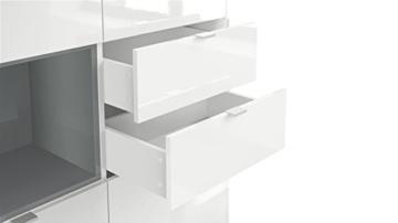Highboard Sideboard Metro, Korpus in Weiß Hochglanz / Fronten in Weiß Hochglanz mit Einsatz in Eiche Nordic - 4