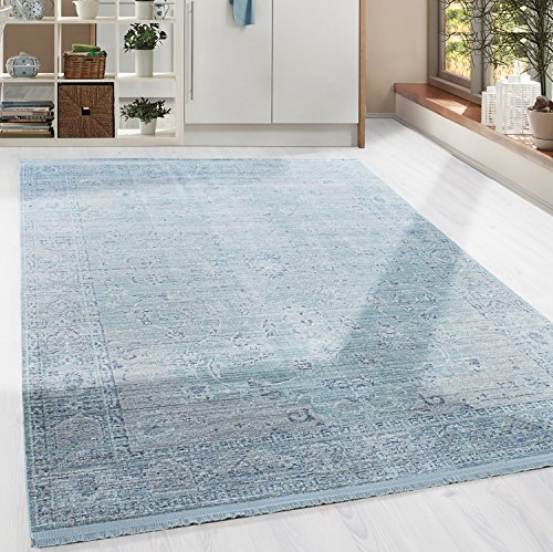 hochwertiger teppich in barock vintage stil mit ornament borduere und fransen 5 groessen blau. Black Bedroom Furniture Sets. Home Design Ideas