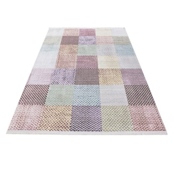 Hochwertiger Teppich Vintage Stil Kariert Gingham Und Fransen, 5 Groessen  Grau Blau Gelb Pink Lila Orange Meliert Wohnzimmer, Gästezimmer, Flur, ...