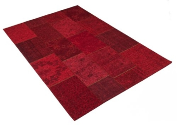 Hochwertiger Vintage Webteppich - Modern und zeitlos - Teppich Patchwork K10751-09 Rot (155x230cm) - 1