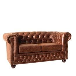 Hochwertiges Chesterfield Sofa 2-Sitzer vintage braun echtes Sattelleder Couch Couchgarnitur Zweisitzer Ledercouch Leder - 1