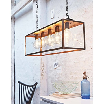 IMPRESSIONEN living Deckenleuchte - Industrial Style - Metall - Glaskasten - Breite ca. 85 cm - 5