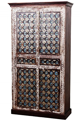 Indischer marokkanischer orientalischer Orient Landhaus Schrank Kleiderschrank Dielenschrank Billur - 2 - 185cm - 2