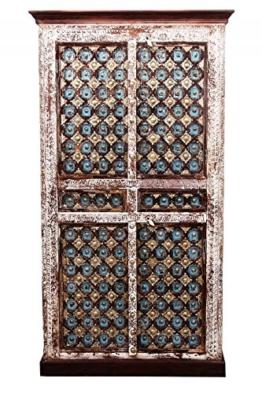 Indischer marokkanischer orientalischer Orient Landhaus Schrank Kleiderschrank Dielenschrank Billur - 2 - 185cm - 1
