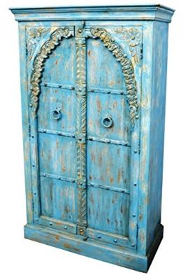 Indischer marokkanischer orientalischer Orient Landhaus Schrank Kleiderschrank Dielenschrank Baya - 160cm - 1
