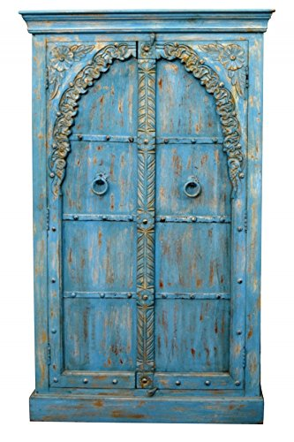 Indischer marokkanischer orientalischer Orient Landhaus Schrank Kleiderschrank Dielenschrank Baya - 160cm - 2
