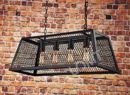 Industrie Vintage Anhänger Licht 4Lampen Metall Drahtgeflecht - 1