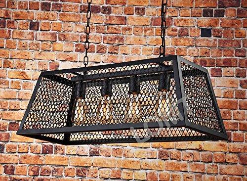 Industrie Vintage Anhänger Licht 4 Lampen Metall Drahtgeflecht ...