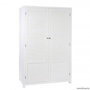 J-Line Weiß Kleiderschrank mit 2 Holzlatten weißen Lamellen 120 - 1