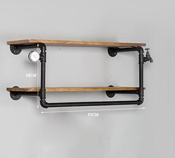 kleiderständer garderobe Industrial Retro Bekleidung Racks Shop Display Stand On The Wall Doppel - Layer Massivholz Wasser Rohr Regale garderobe hutablage - 2