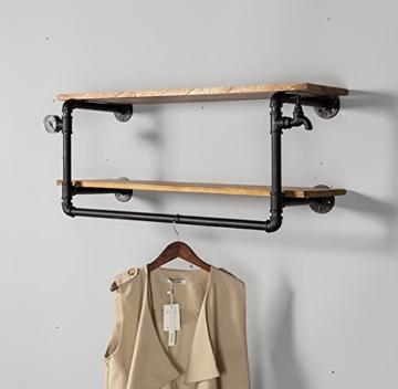 kleiderständer garderobe Industrial Retro Bekleidung Racks Shop Display Stand On The Wall Doppel - Layer Massivholz Wasser Rohr Regale garderobe hutablage - 3
