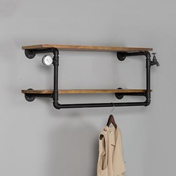 kleiderständer garderobe Industrial Retro Bekleidung Racks Shop Display Stand On The Wall Doppel - Layer Massivholz Wasser Rohr Regale garderobe hutablage - 4