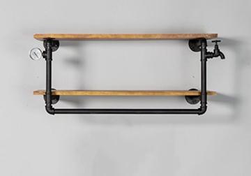 kleiderständer garderobe Industrial Retro Bekleidung Racks Shop Display Stand On The Wall Doppel - Layer Massivholz Wasser Rohr Regale garderobe hutablage - 1
