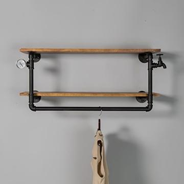 kleiderständer garderobe Industrial Retro Bekleidung Racks Shop Display Stand On The Wall Doppel - Layer Massivholz Wasser Rohr Regale garderobe hutablage - 5