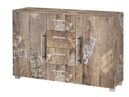 Kommode, Anrichte, Sideboard, Schubkastenkommode, Schubladenkommode Panamaeiche, Vitage, B/H/T ca. 127/83/35 cm - 1