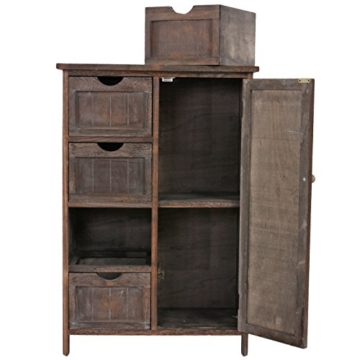 Kommode Schrank, 82x55x30cm, Shabby-Look, Vintage braun - 5