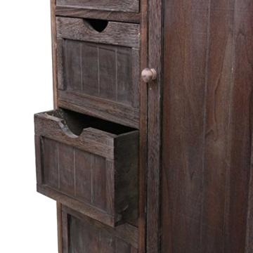 Kommode Schrank, 82x55x30cm, Shabby-Look, Vintage braun - 6