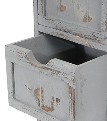 Kommode Schrank, 82x55x30cm, Shabby-Look, Vintage grau - 5