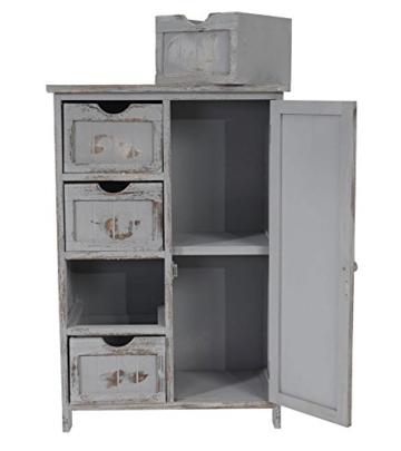 Kommode Schrank, 82x55x30cm, Shabby-Look, Vintage grau - 7