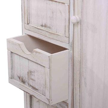 Kommode Schrank, 82x55x30cm, Shabby-Look, Vintage weiß - 6
