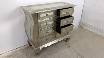 Kommode Schrank Sideboard 8 Schubkästen Vintage silber Patina / Alu Pomp Barock - 1