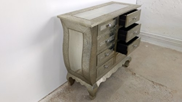 Kommode Schrank Sideboard 8 Schubkästen Vintage silber Patina / Alu Pomp Barock - 2