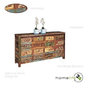 kommode sideboard anrichte highboard unikat shabby chic vintage look aus massivholz mit 16 schubladen mehrfarbig