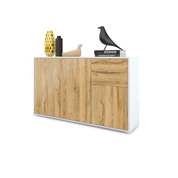 Kommode Sideboard Ben V3, Korpus in Weiß matt / Fronten in Eiche Nature - 1