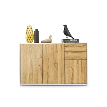 Kommode Sideboard Ben V3, Korpus in Weiß matt / Fronten in Eiche Nature - 2