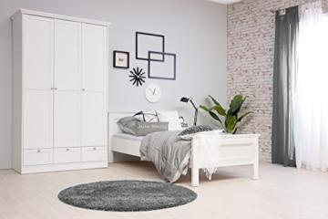 Landhaus Kleiderschrank, Schlafzimmerschrank, 3-türig, (B/H/T: 120 x 200 x 51), weiß, Möbelgriffe antik - 8