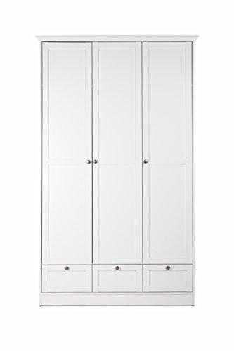 Landhaus Kleiderschrank, Schlafzimmerschrank, 3-türig, (B/H/T: 120 x 200 x 51), weiß, Möbelgriffe antik - 1