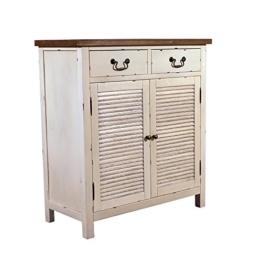 Landhausmöbel - Kommode Bretagne - Landhaus Schrank - Holz Vintage Look creme weiß - 1