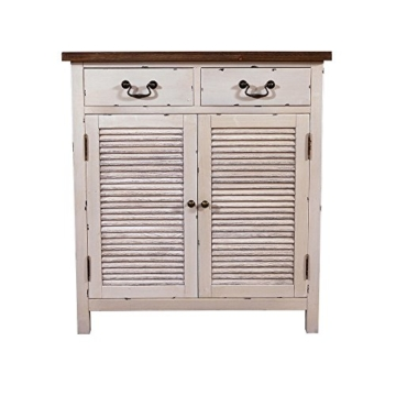 Landhausmöbel - Kommode Bretagne - Landhaus Schrank - Holz Vintage Look creme weiß - 2