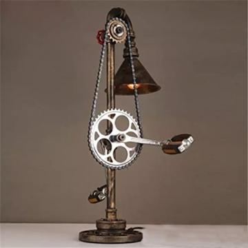 Lederkram Exklusive Schlafzimmer Deko Lampe Vintage Fahrrad Metallkette Wasserrohr Tischlampe Nachgischlampen Deco LED Nachtspinne Mann Lampe / Tischleuchten / Tischlampe Schlafzim - 3