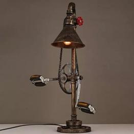 Lederkram Exklusive Schlafzimmer Deko Lampe Vintage Fahrrad Metallkette Wasserrohr Tischlampe Nachgischlampen Deco LED Nachtspinne Mann Lampe / Tischleuchten / Tischlampe Schlafzim - 1