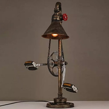 Lederkram Exklusive Schlafzimmer Deko Lampe Vintage Fahrrad Metallkette  Wasserrohr Tischlampe Nachgischlampen Deco LED Nachtspinne Mann Lampe ...