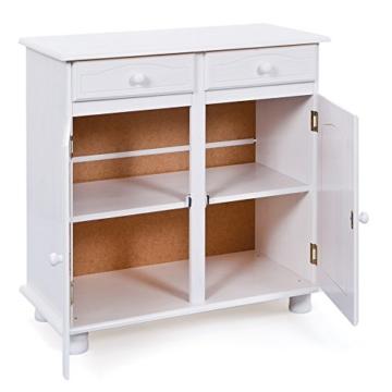 Links 20900802 Kommode Anrichte Sideboard Holzkommode Kiefer massiv weiß 2-türig Schubladen NEU - 2