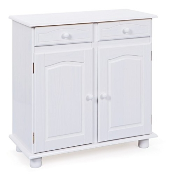 Links 20900802 Kommode Anrichte Sideboard Holzkommode Kiefer massiv weiß 2-türig Schubladen NEU - 1
