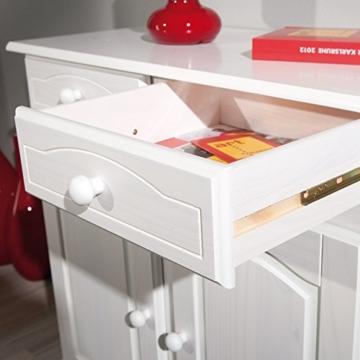 Links 20900802 Kommode Anrichte Sideboard Holzkommode Kiefer massiv weiß 2-türig Schubladen NEU - 6