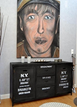 Livitat® Kommode Sideboard antik schwarz 150 x 85 cm Industrie Look Vintage Loft Shabby Chic LV 1125 - 1