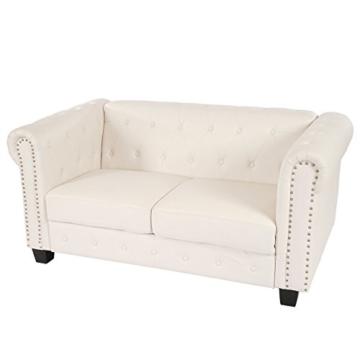 Luxus 2er Sofa Loungesofa Couch Chesterfield Kunstleder ~ eckige Füße, weiß - 1